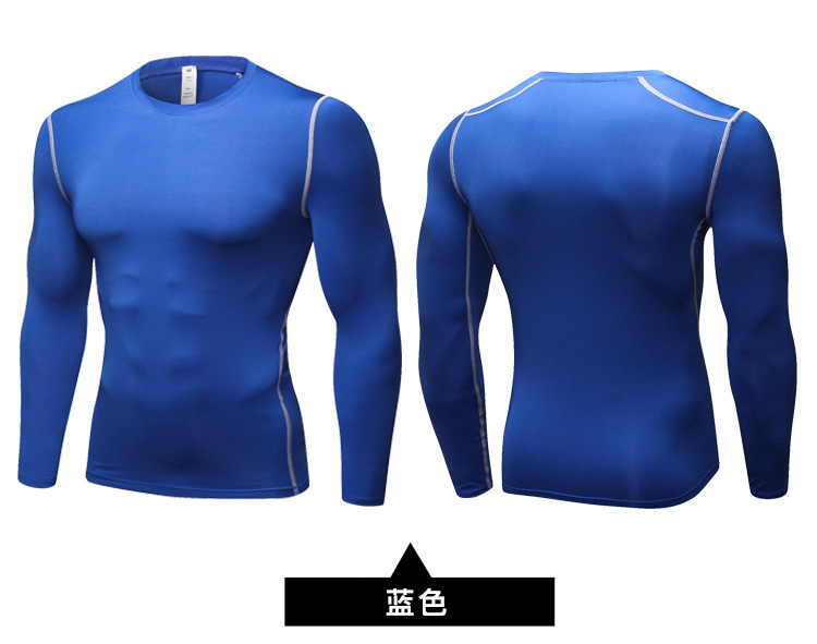 Spring Thin Compression Baselayer Plain Color Sports Long Sleeve Shirt