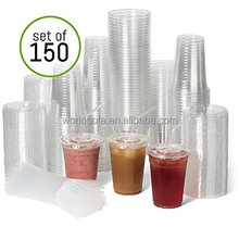 Custom Logo 12oz 16oz Wlolesale Disposable Plastic Cup with lid and straw