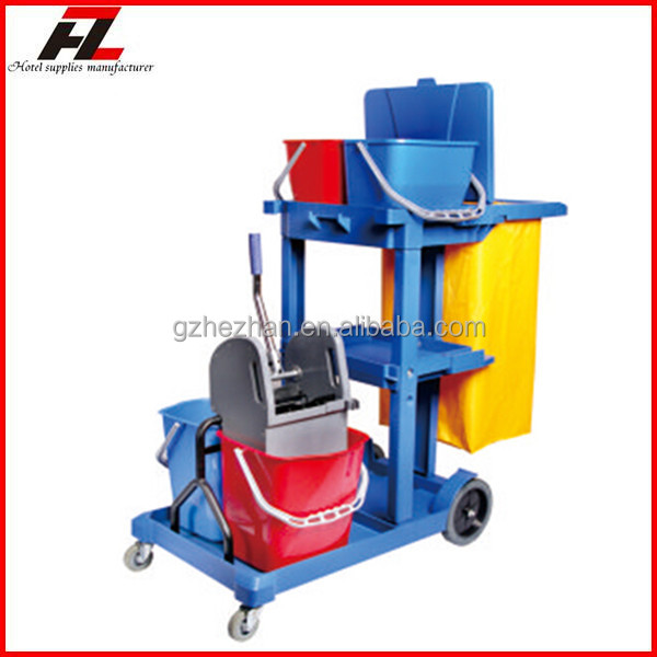 Housekeeping Plasitc Janitor Cart with Wringer and Buckets / Multi-function Cleaning Janitor Cart with Cover for Hotel