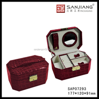 Newest design red Crocodile Leather Jewellery Case