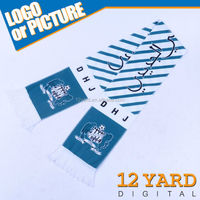 12 Yards promotion Custom OWN design OEM logo polyester polar fleece print football scarf for men