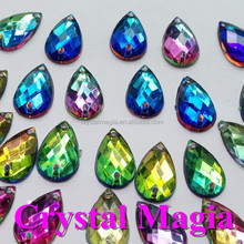 waterdrop rainbow crystal wedding shoes 7*15mm acrylic sew on rhinestone