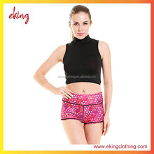 women digital print colorful yoga shorts compression running shorts