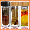 Wholesale new design custom BPA free double wall glass drinking water tea cup with filter