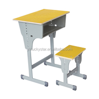 Adjustable/Lifting Wooden Single School Desk and Chair/Stool for Students/School Furniture