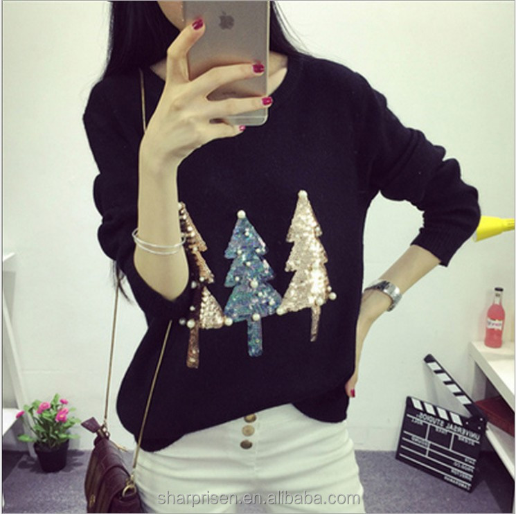 Women red sequins Sweater Christmas Trees Pattern ugly Christmas Jumper sweater
