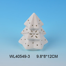 Excellent ceramic white christmas tree ornament with led light