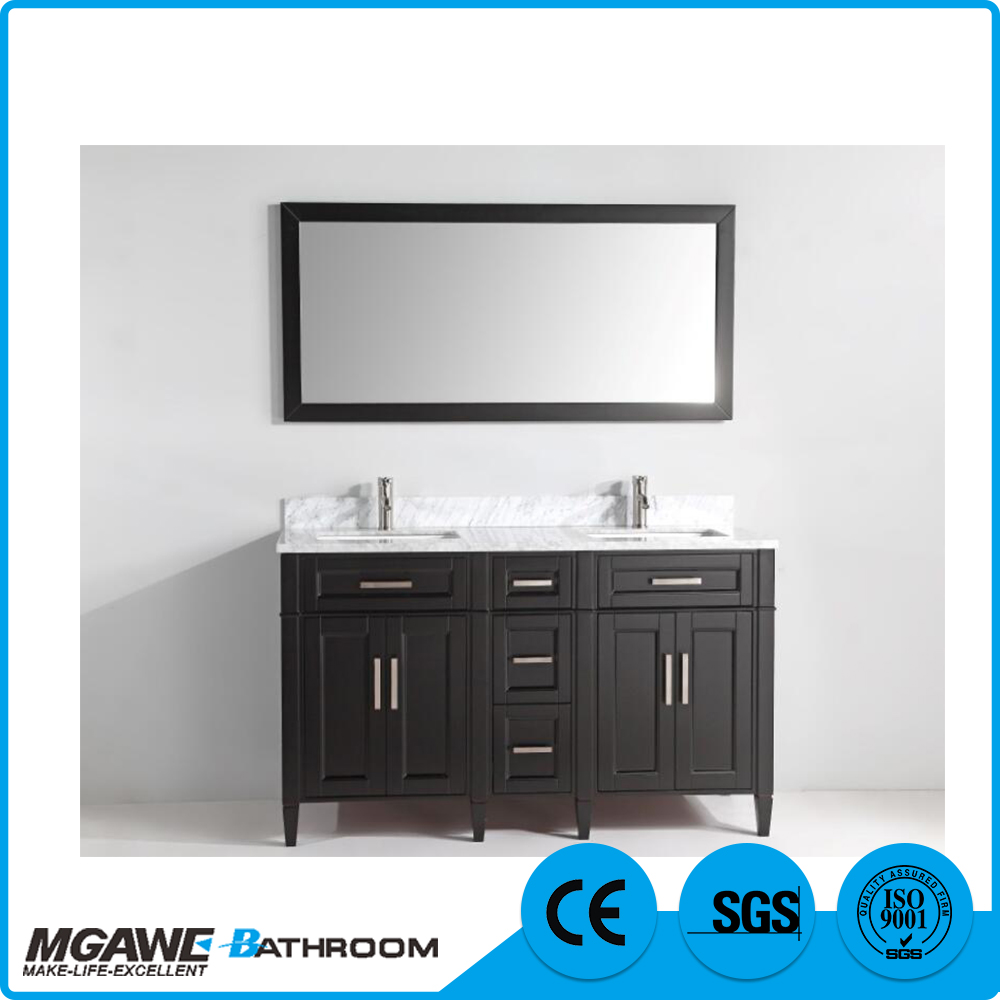 High Quality Wholesale Custom Cheap double sink wooden bathroom vanity