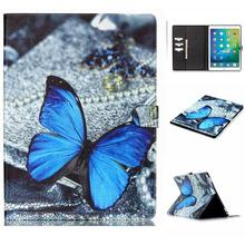 New Fashion Blue Butterfly Wallet Style Magnetic Flip Stand TPU+ PU Leather Case for iPad Pro 12.9 Inch