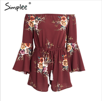 Simplee floral romper womens jumpsuit Summer playsuits jumpsuit 2017 streetwear long sleeve overalls Clothing