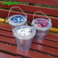French Plain Color Metal Candle Bucket With Top Clear View