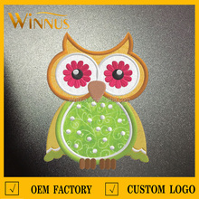 cheap wholsale sew stick iron on applique cute owl embroidered animal patches