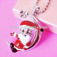Christmas magnetic santa claus western sweater chain necklace clip pendant