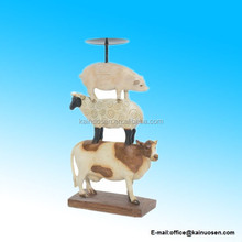 Pillar Candle Holder, Country Farm Animals Stack Pig Sheep Cow Statue Figure