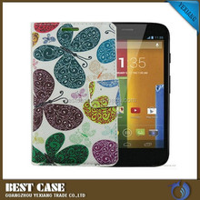 China wholesale leather flip cover case for motorola moto g pouch stand with card solt