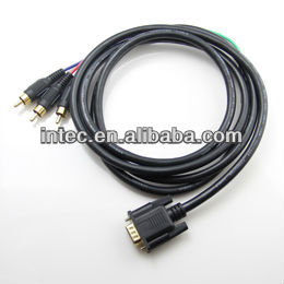 Gold Plated VGA DB15 to 3 RCA Audio Video Cable