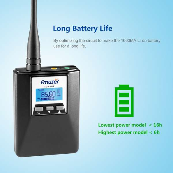 FMUSER FU-T300 0.2W Portable Mini FM Transmitter radio braodcast Stereo/Mono Power adjustable For Tourism Driving School Meeting