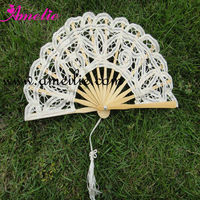 A Fan021-15cm Ivory Color Bamboo Crafts Lace Cheap Hand Fans