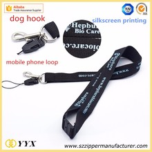 custom logo printed detachable buckle lanyard with mobile phone string clip and metal hook