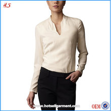 Dongguan City Clothing Manufactuers Wholesale Top Quality Lady Long Sleeve Plunge Neck Silk Blouse