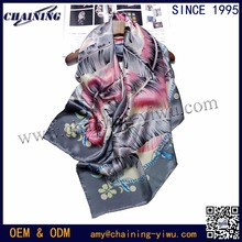 2017 Chinese supplier wholesale floral chain deisgn grey color digital print custom 108cm big square 100% satin silk scarfs