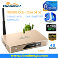 Hot Sell Cloudnetgo Octa core RK3368 2G RAM 16G ROM 1000M TBASE HDMI2.0 H.265 WiFi digital tv box with Luxury Metal Housing
