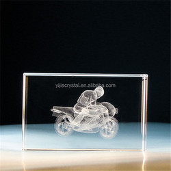 K9 glass cube/blocks 3d laser engraved crystal motorbike/motorcycle