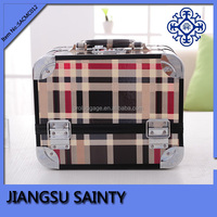 Checked pvc material makeup train case