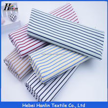 Plain style blue polyester cotton 60/40 CVC stripe shirting fabric
