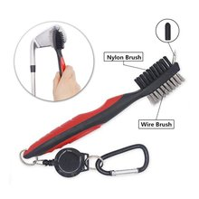 Golf Club Brush and Club Groove Cleaner 2 Ft Retractable Zip-line Aluminum Carabiner, Lightweight and Stylish, Ergonomic Design