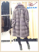 2016 Knee-length Mink fur coat using real mink fur imported from Finland