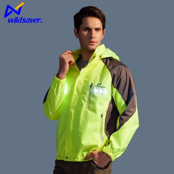 Rainproof LED cycling jacket reflective sports wear