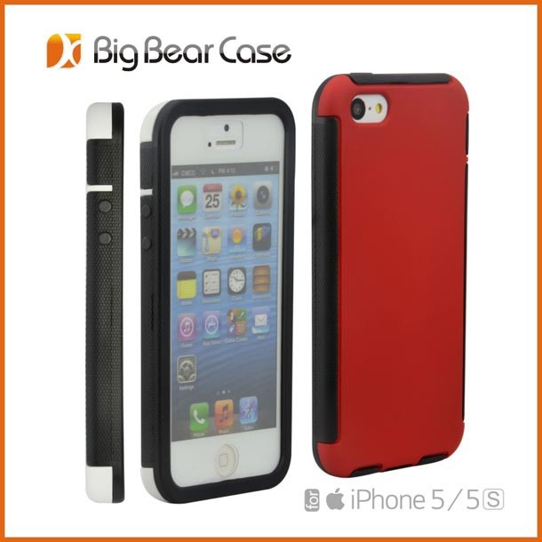 Dual layer screen protector cell phone case for iphone 5 5s