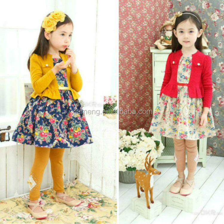 Hot sale long sleeve cute children frocks designs for winter