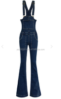 top girls top design women skinny bell bottom side zipper denim long jeans bib overalls