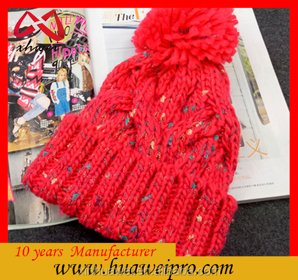 Made in china oem dyed red knit hat custom slouch beanie