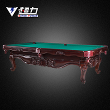 hand carved solid wood pool table