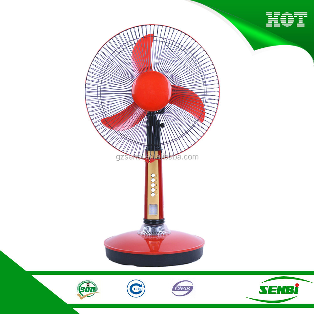 Battery operated 12v 16 inch khaitan fan rechargeable solar table fan with light