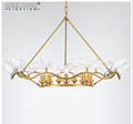 MEEROSEE Gold Metal Chandelier Pendant Light Modern Creative Glass Birds Hanging Lamp For Living Room Home Decoration MD85512-L6