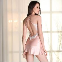 DM 774 New Summer Lace Imitated Silk Pajamas Backless Sleeping Dress Spaghetti Strap Womens Nighties