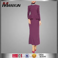 Elegant Baju Suit For Girls Peplum Dress Plain Baju Kurung Muslim Jubah 2016
