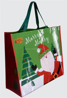 Recyclable custom Promotional eco-friendly Wholesales Christmas PP laminated non woven fabric shoulder bag