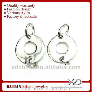 XD P316 925 sterling silver circle earring connectors earrings round