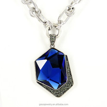 Newest Big Atypical Blue Sapphire Crystal Pendant Necklace