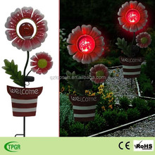 Metal flower crafts with glass ball garden solar light for outdoor decoration