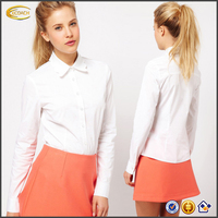 Ecoach 2016 New Arrivals Long Sleeve Scallop Collar White Shirt Office Lady Blouse For Workwear