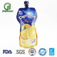 Wholesale custom printing multi-layer laminated aluminum foil bag drink liquid juice pouch with spout