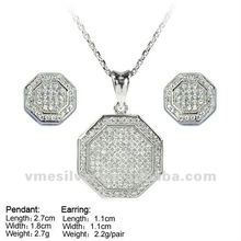 925 Silver Jewelry Hot Sale round Silver Jewelry Sets Micro Pave CZ