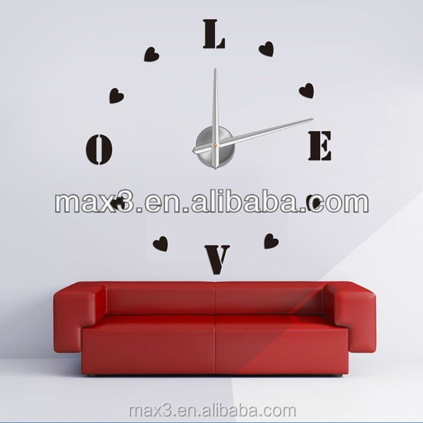 Novelty love heart design wall sticker clock for unique wall clock