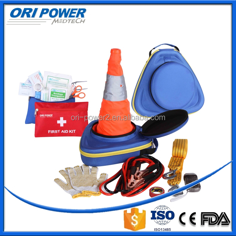 OP manufacture FDA CE ISO approved wholesale EVA car emergency tool kit including mini aid kit